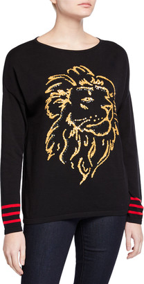 Joan Vass Petite Sequin Lion Intarsia Scoop-Neck Sweater w/ Striped Sleeves