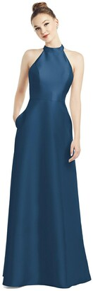 Alfred Sung High-Neck Cutout Satin Dress with Pockets