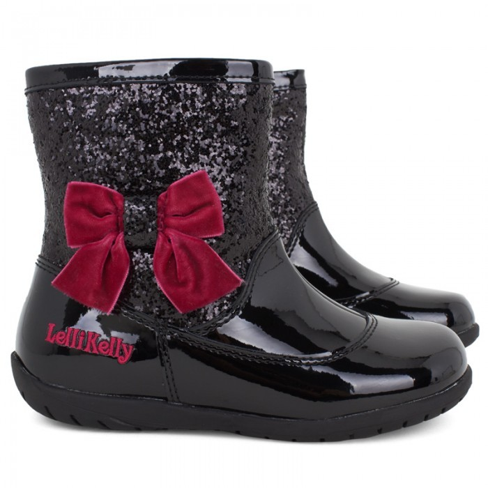 Lelli Kelly Kids Patent Black Pink Bow Boots