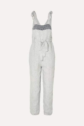 Innika Choo Fava Rutfrend Embroidered Striped Linen Dungarees - Ivory