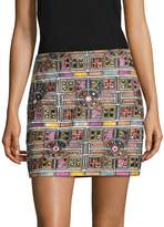 Nicole Miller Women's Silk Embroidered Panama Tiles Mini Skirt