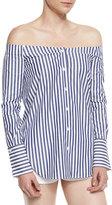 Rag & Bone Kacy Striped Reversible Poplin Off-the-Shoulder Tunic, Navy/White