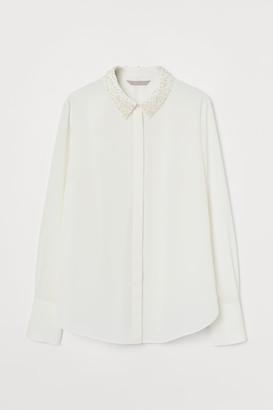 H&M Bead-embellished Blouse - White