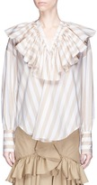 Tome Ruffle bib stripe poplin peasant blouse