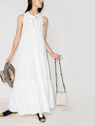 HONORINE White Eve Neck Tie Cotton Maxi Dress