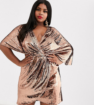ASOS DESIGN Curve sheet sequin mini dress with asymmetric kimono sleeve