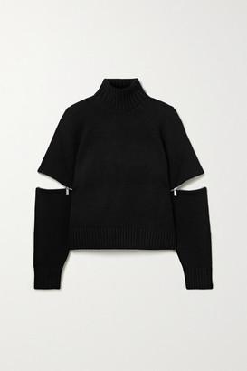 Michael Kors Zip-embellished Cashmere Turtleneck Sweater - Black