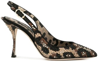Dolce & Gabbana Leopard Print Sling-Back Pumps