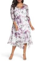 Komarov Plus Size Women's Floral Chiffon Handkerchief Hem Dress