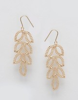 NY:LON Etched Leaf Drop Earrings