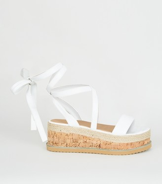 New Look Suedette Ankle Tie Flatform Sandals