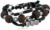Ettika Men's Black 3 Strand Leather Bracelet Silver Colored Bodhi Seed and Metal Beads, 3""
