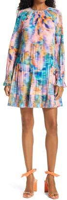 Tanya Taylor Mikayla Plisse Pleat Long Sleeve Babydoll Dress