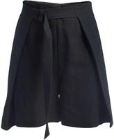 Gisy Sonnet Raw Silk Wrap Short Pants Black