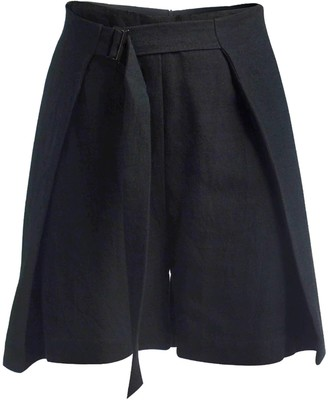 Gisy Sonnet Raw Silk Wrap Short Pants Black