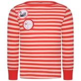 Girls Red Striped Top With Badges
