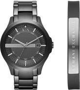 Armani Exchange Men's Hampton Black Stainless Steel Bracelet Watch Gift Set 46mm AX7101
