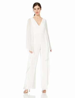 Halston Women's Dramatic Flounce Sleeve V-Neck Tie Back Jumpsuit