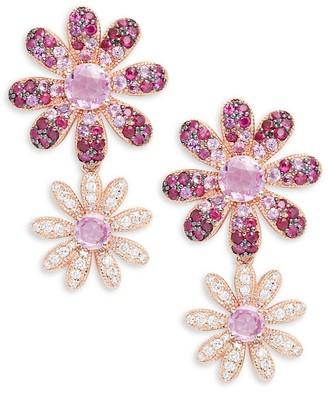Effy 14K Rose Gold, Diamond, Pink Sapphire Ruby Flower Earrings