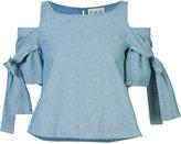 Sea cold-shoulder blouse