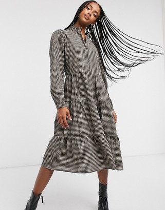 Only midi smock dress with high neck in check