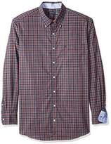 Nautica Men's Big and Tall Wrinkle Resistant Navy Plaid Shirt
