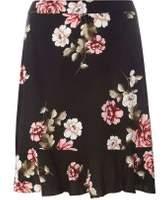 Dorothy Perkins Womens Black Floral Print Pephem Mini Skirt- Black