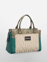 Calvin Klein Carey Logo Snake Accent Structured Bowler Satchel