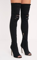 PrettyLittleThing Kaylia Black Distressed Denim Thigh Boots