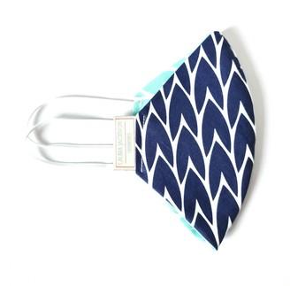 Laura Jackson Design Leaf Face Mask - Dark Blue & Mint