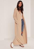Missguided Tall Exclusive Nude Crepe Longline Duster Jacket