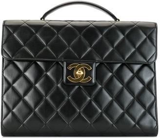 Chanel Pre Owned Diamond Quilted Briefcase
