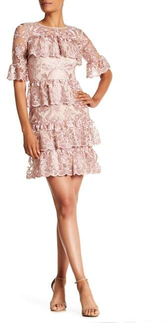 ML Monique Lhuillier Tiered Embroidered Floral Mesh Mini Dress