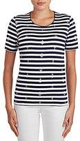 Allison Daley Petites Crew-Neck Stripe Anchor Print Short Sleeve Knit Top