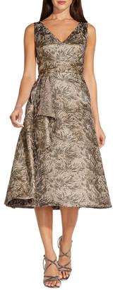 Adrianna Papell Jacquard Cascade Dress