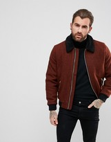 Asos Harris Tweed Bomber Jacket in Rust Melange