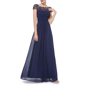 yuye-xthriv Elegant Ladies Lace Flower Backless Solid Color Evening Party Long Maxi Dress