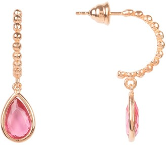 Latelita Palermo Beaded Hoop Gemstone Drop Earring Pink Tourmaline