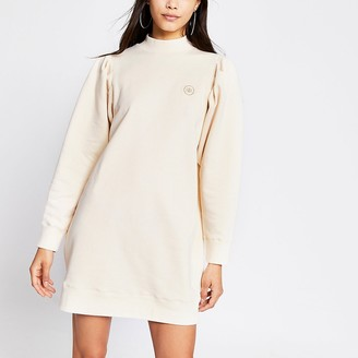 River Island Beige long pleated sleeve sweatshirt dress