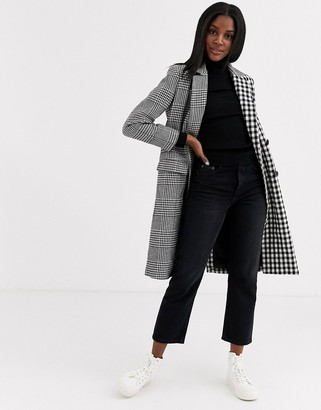 Brave Soul aretha tailored coats in mixed check-Black