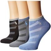 Lauren Ralph Lauren Contrast Cuff Diagonal Stripe Low Cut 3-Pack Women's Low Cut Socks Shoes
