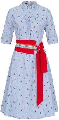 Marianna Déri Franchesca Dress Parrots with Two Belts