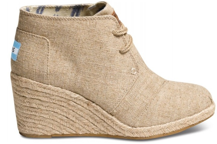 Toms Natural burlap women's desert wedges
