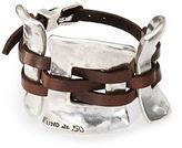 Uno de 50 Silver And Leather Cuff Bracelet