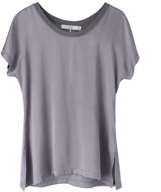 Voya Silk Panelled Silver Top