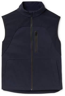 Sease - V-8 Slim-fit Panelled Virgin Wool-blend And Stretch-nylon Gilet - Blue