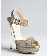 Jimmy Choo gold glitter woven leather platform peep toe 'Raven' sandals