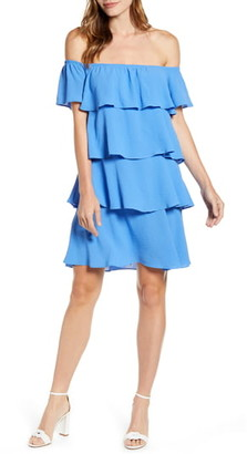 Gibson x Hot Summer Nights Natalie Off The Shoulder Ruffle Dress