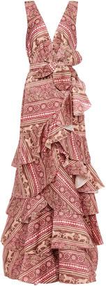 Johanna Ortiz Tiered Embellished Printed Silk-organza Maxi Dress