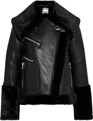 Walter Baker Eduardo Faux Fur-trimmed Leather Biker Jacket